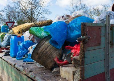 Rolle mit gesammelten Müll